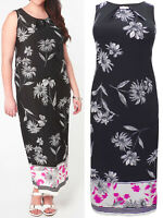 Brand New Evans Size 14,16,18,20 Black Floral Print Sleeveless Long Dress (b4)