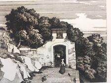 Subiaco, Italie, Caruelle d'Aligny, Gravure XIXe, Italy, Engraving, Incisione