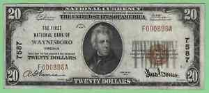 US National Currency Waynesboro Virginia 1929 type I CH7587 VF
