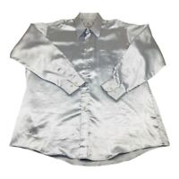 Vintage Paul Rene Mens Silver Metallic Satin Disco Lounge Tux Dance Shirt 17.5