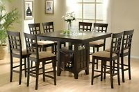 Gabriel 9 pc Dining Room Set Counter Height Table w Lazy Susan Storage 8 Chairs