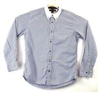 Tommy Hilfiger Slim Fit Mens Large L Blue Striped Long Sleeve Collared Shirt