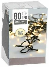 80 LED Light String Winter Christmas Lighting Indoor Outdoor Warm White