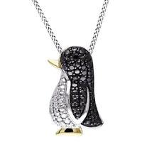 Black White Natural Diamond Accent 14K White Gold Over Penguin Pendant Necklace