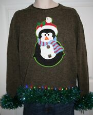Mens Ugly Christmas Sweater -  Penguin ~ Lights Up ~ Size Medium  :)