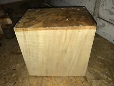 255X255X185MM LOT 276 SPALTED SYCAMORE WOODTURNING FIGURED TIMBER BLANK