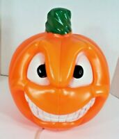 "VINTAGE Lighted 13"" Blow Mold HALLOWEEN 2 Face Pumpkin General Foam PLASTICS"