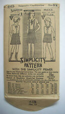 Vintage 1920's 1930's girls pleated skirts shorts blouse pattern 443 size 12
