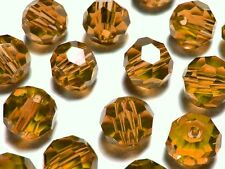50Pc 4mm  Austrian Fine Cut 5000 Crystal Faceted Round Beads - Topaz Brown