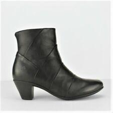 Womens Ladies Boots Real Leather Mid Heel Ankle Memory Foam Zip Black Size UK 8