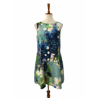 Rebecca Minkoff Sleeveless A Line Dress Paint Splatter 100% Silk Size 6