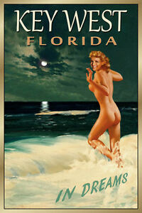 Key West Florida Original Travel Poster Marilyn Monroe Beach PinUp Art Print 169