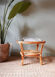Vintage Retro Bohemian Style Bamboo Glass Round Coffee Side Table 1960s 1970s