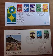 Rare Suriname 1972  2 x FDC Easter & Forestry Commission Excellent condiiton