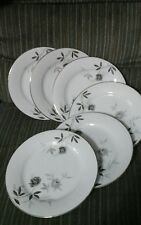 6 NORITAKE China ROSAMOR 5851S pattern  SALAD LUNCH PLATES platinum roses 8.25""
