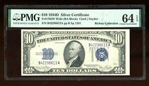 DBR 1934-D $10 Silver Wide Fr. 1705W PMG 64 EPQ Serial B42298613A
