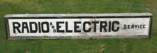 Large Antique Early 20thC Painted Wood Radio & Electric Advertising Trade Side