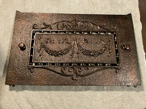 Ornate Embossed Antique Cast Iron Fireplace Summer Cover Plate, Free S/H