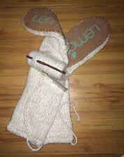 NEW Lemon Ladies Knit Knee High Lounge Slipper Socks Cream Suede Bottom