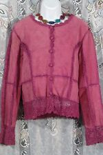 Suede Essential Leather Jacket Large Pink crochet lace trim FBB womens coat Sale