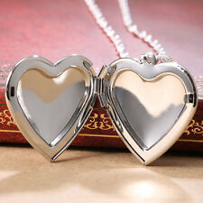 Women Jewelry 925 Silver Heart Locket Pendant Chain Choker Necklace 24inches