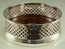 "NEW - Solid Silver - Large Wine Bottle Basket Straight COASTER - 5"" - Boxed"