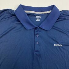 Reebok Play Dry Polo Shirt Mens 2XL XXL Navy Gray Short Sleeve Hi Low Hem Active
