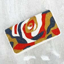 Women's Vintage Beaded Clutch with White Orange Gold Blue Abstract Design