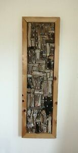 Driftwood wall hanging art Pembrokeshire seaside holiday cottage sculpture