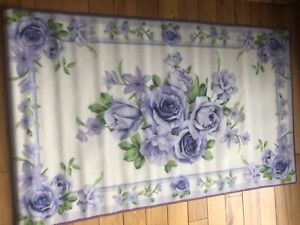 Lavender Realistic Floral Accent Rug Spring Victorian Rose Bouquet Floor Rug