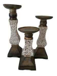 """Lot of 3 graduated ornate tabletop pillar candle holders 8 10 12"""" Shabby Cottage"""