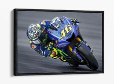 VALENTINO ROSSI -FLOAT EFFECT CANVAS WALL ART PIC PRINT- GREY BLUE