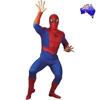 Mens Adult Spiderman Super Hero Suit Halloween Fancy Dress Party Costume