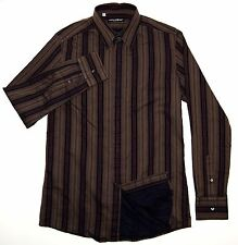 DOLCE & GABBANA Men's Button Front Dress Shirt Brown Striped Size 16 41cm Italy