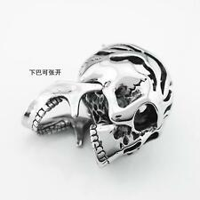 Rock Stainless Skull Bone Shape Pendant Necklace Chain Men's Jewelry