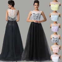 Tulle & Lace Short/Long Prom Gown Evening Party Formal Bridesmaid Wedding Dress