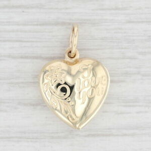 Vintage I Love You Heart Locket Pendant 10k Yellow Gold Floral Repousse Charm