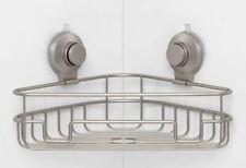 Made By Design Suction Corner Basket Bathroom Shower Aluminum Organizer Gray