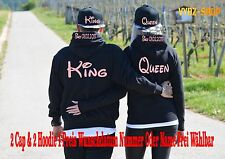Hoodie Pullover und Cap King Queen Motiv Partner Look Relationship XS - 5XL