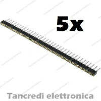 5 Connettori Strip Line Femmina 40 poli 40x1 Tornito Header Socket Female 2.54mm