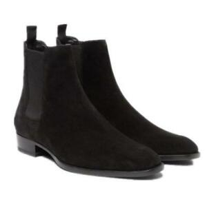 Men's Pull On High Top Ankle Chelsea Boot Suede Dress Pointy Toe Shoe