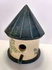 Vintage ROUND  Perch Bird House Hand Painted