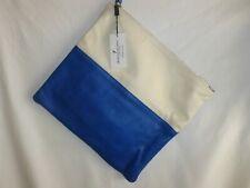 New ALBERTA DI CANIO Italian LEATHER Tote Handbag Purse Satchel Blue/white Italy