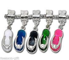 10Mixed Enamel Slippers Dangle Beads Fit Charm Bracelet