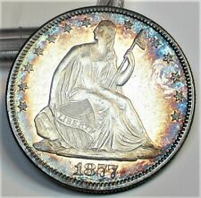 1877 SEATED LIBERTY HALF DOLLAR 50c TONED GEM/BU -- GEM PROOF ??? RARE US COIN.