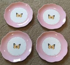 4 LENOX BUTTERFLY MEADOW SALAD/FRUIT LUNCH PLATES - Pink