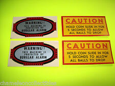 VINTAGE POOL TABLE DECALS CAUTION HOLD COIN SLIDE IN FOR 5 SECONDS TO.. + ALARM