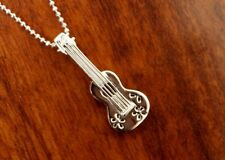 New Hawaiian Jewelry 925 Sterling Silver UKULELE GUITAR Pendant Necklace SP85501