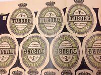 """Tuborg Denmark Vintage x26 Beer Labels On Sheet Unused New Old Stock 1954 """"Øl"""""""