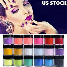 Pro 18 Colors Acrylic Nail Art Tips UV Gel Powder Dust Design Decor 3D Manicure